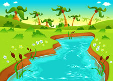 Jungle with pond. Cartoon and vector illustration Royalty Free Stock Photo