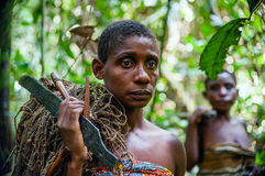 Jungle Portrait of a woman from a Baka tribe of pygmies. Royalty Free Stock Images