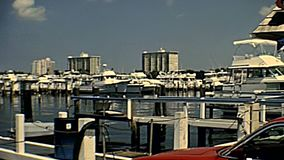 Jungle Queen Riverboat. Fort Lauderdale, Florida, United States - Circa 1978: Jungle Queen Riverboat, touristic cruise in Harbour Isles of Fort Lauderdale near stock video