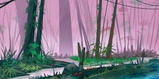 Jungle Rain Forest. Realistic Style. Video Game Digital CG Artwork, Concept Illustration, Realistic Cartoon Style Scene Design vector illustration