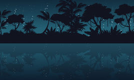 Jungle with reflection silhouette landscape Royalty Free Stock Photos