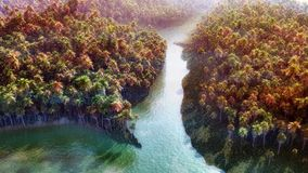 Jungle River. Dense jungle forest with sunset, bright water and thin fog layer. Super high quality and unique illustration Stock Image