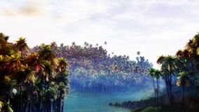 Jungle River. Dense jungle forest with sunset, bright water and thin fog layer. Super high quality and unique illustration Stock Photos