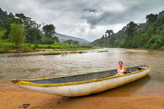 Jungle river boat Royalty Free Stock Images