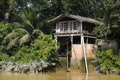 Jungle River Fisherman's House. Fisherman's boathouse above Muddy Jungle River Royalty Free Stock Image