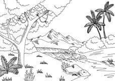 Jungle river graphic black white landscape sketch illustration Stock Image