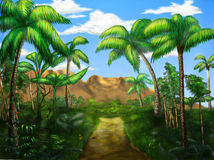 Jungle road. This is a road leading through the jungle vector illustration