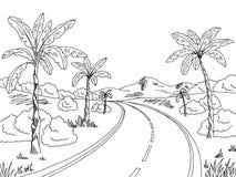 Jungle road graphic black white landscape sketch illustration Stock Photo