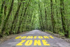 Jungle road to comfort zone. Comfort zone text written on jungle road with tall tree two side, green road royalty free stock photos