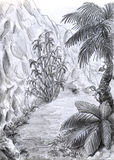 Jungle road - vertical view. This is a road leading through the jungle. Pencil drawing Stock Photos