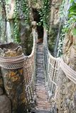 Jungle Rope Bridge. View of a jungle rope bridge with waterfalls Royalty Free Stock Photo