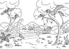 Jungle ruin graphic black white landscape sketch illustration Royalty Free Stock Photos