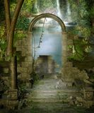 Jungle ruins. Fantasy scenery with ruins in a jungle Stock Images
