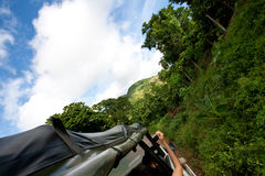 Jungle safari advenure. Driving trough the deep forest of the jungle in an open safari truck / jeep royalty free stock photos