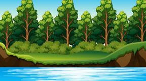 Jungle scene with river. Illustration vector illustration
