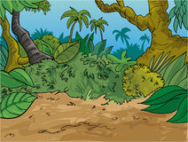 Jungle scene with trees large leaves and palm trees vector illustration