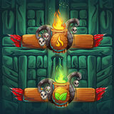 Jungle shamans GUI  boosters  fire and earth Stock Photography