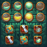 Jungle shamans GUI icons buttons kit Royalty Free Stock Photo