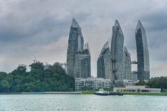 Jungle skyscrapers. Fort Siloso, Sentosa, view to Singapore royalty free stock images