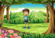 A jungle with a smiling little boy. Illustration of a jungle with a smiling little boy Royalty Free Stock Photography
