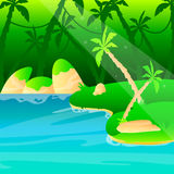 Jungle. Sunny morning in the jungle. Vector illustration Royalty Free Stock Photos