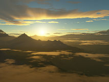 Jungle Sunrise. The sun rises over jungle covered mountain peaks surrounded by low lying clouds stock illustration