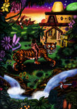 Jungle Tale (2011). Man riding on tiger towards temple royalty free illustration
