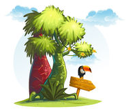 Jungle trees with wooden pointer and bird toucan. Illustration jungle trees with wooden pointer and bird toucan Royalty Free Stock Photography