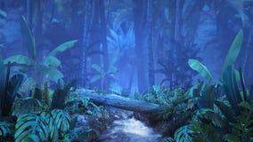 Jungle tropicale de nuit avec un ruisseau illustration libre de droits