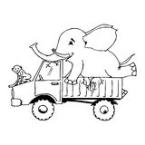 The jungle truck. Illustration of a jungle truck with an elephant and a monkey on the hood, black and white version. Useful also for educational or coloring Stock Photography