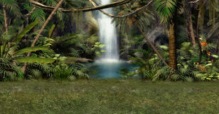 Jungle Waterfall vector illustration