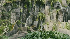 Jungle waterfall cascading down a rocky. stock footage