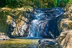 Jungle Waterfall - Pala U Waterfall Hua Hin Thailand. This unique photo shows the wild jungle waterfall and stunning nature also called Palau Waterfall Hua Hin stock images