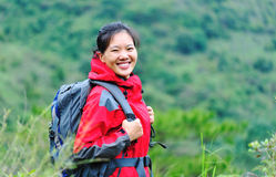 Jungle woman hiker Stock Images