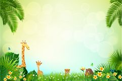 Jungle or Zoo Themed Animal Background. Field of fresh green grass palm, flower, Humming Birds are flying royalty free illustration
