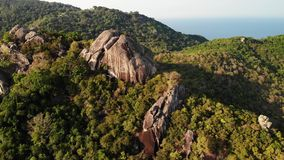 Jungles and mountains of tropical island. Drone view of green jungles and huge boulders on volcanic rocky terrain of Koh. Tao Island on sunny day in Thailand stock video footage