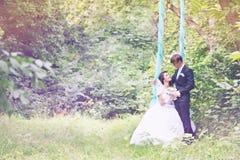 Jungvermählten auf einem Schwingen, abgetönt stockfotografie