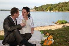 Jungvermählten, die den Wein im Freien trinken Stockfotos