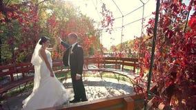 Jungvermählten, die am Freilicht im Herbst tanzen stock footage