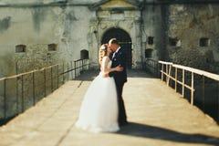 Jungvermählten küssen auf der Brücke in der Front des alten Schlosses Stockbilder