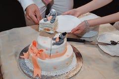 Jungvermählten schnitten den Kuchen Stockfoto