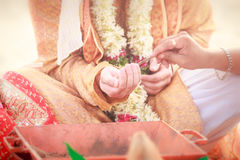 Jungvermähltenhände mit mehendi Stockfotografie