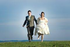 Jungvermähltenpaare in der Landschaft stockbild