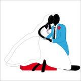 Jungvermähltenpaare stilisiert im Knie Lizenzfreies Stockfoto