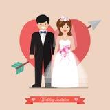 Jungvermählten Braut und Bräutigamhochzeitseinladung Stockfotografie