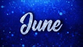 Juni önskar blå text partikelhälsningar, inbjudan, berömbakgrund