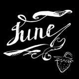 Juni-aardbeien die vector van letters voorzien Stock Afbeeldingen