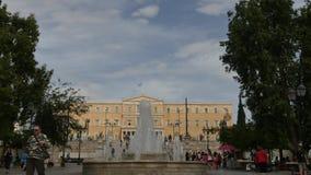 1. Juni 2016 Athen, Griechenland Syntagmen quadrieren in Athen mit Parlamentsansicht-Zeitspanne stock footage