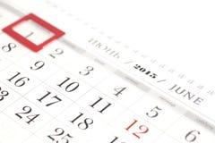 Juni auf Kalender 2015 Stockbild