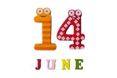 Juni 14 Avbilda Juni 14, på en vit bakgrund Royaltyfria Bilder